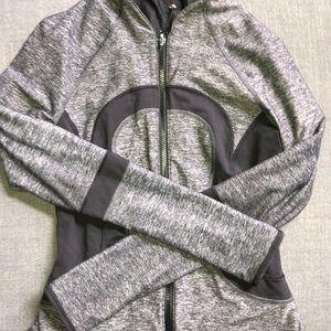 gray and black lululemon zip up jacket